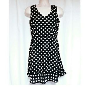 Black Dress with Cream  Polka-Dots Size S